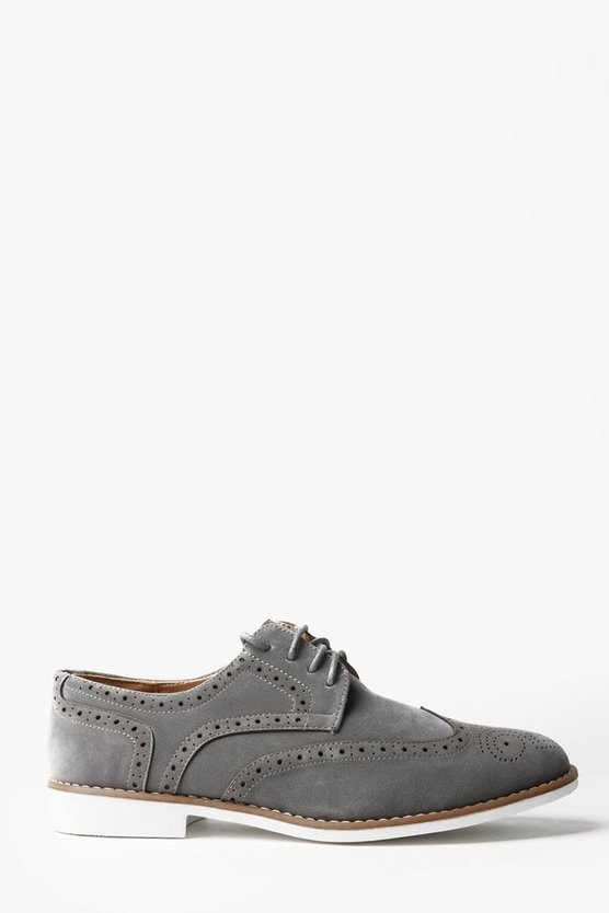 Grey Faux Suede Brogues
