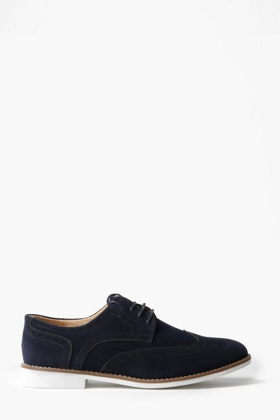 Navy Faux Suede Brogues