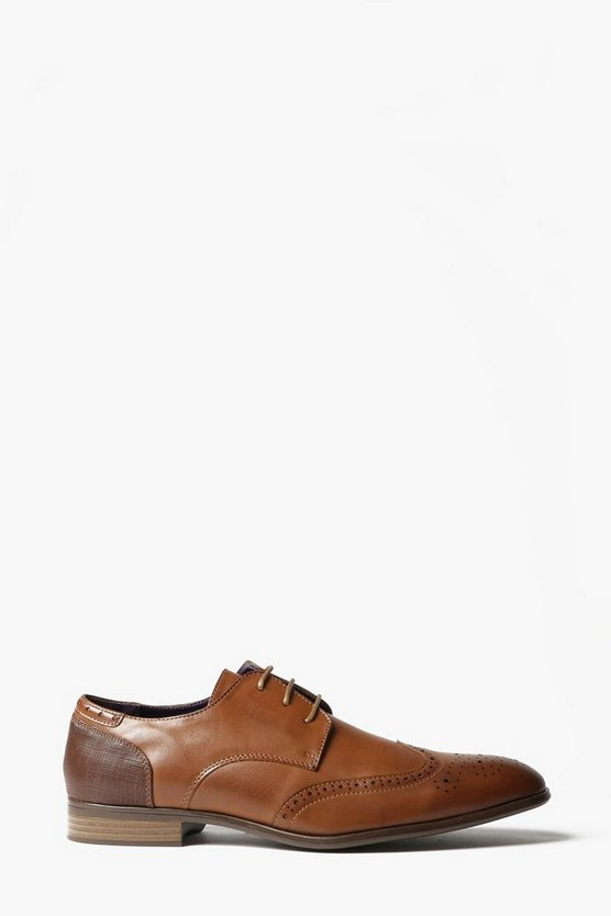 Tan Smart Wing Tipped Brogues