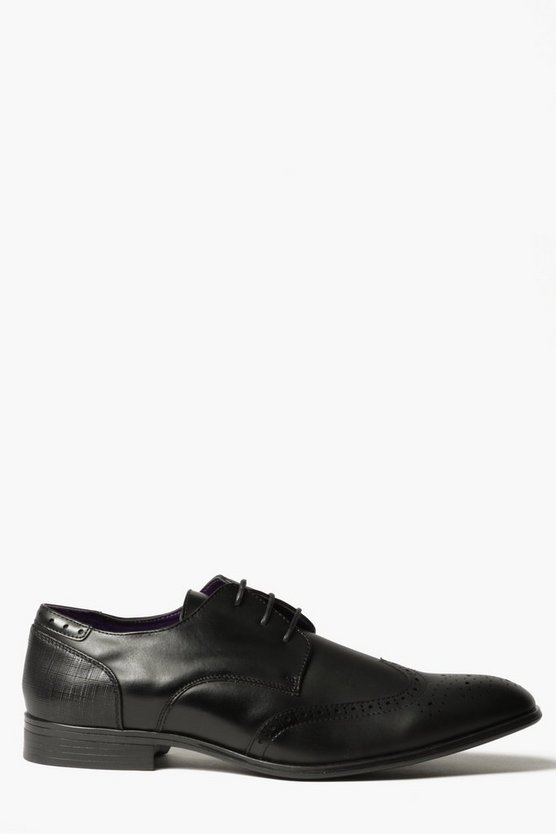 Black Smart Wing Tipped Brogues
