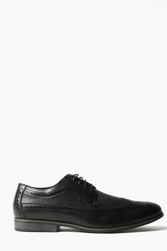 Black Textured Brogues With Perforated Detail