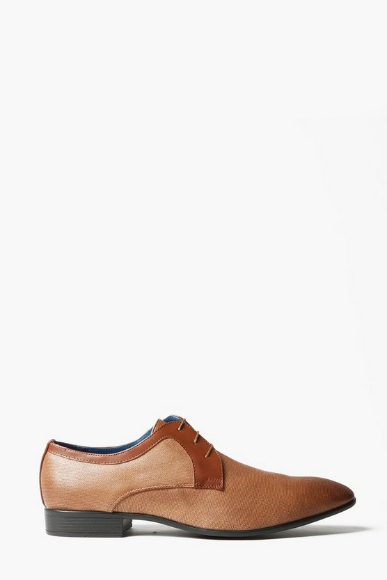 Camel Textured Lace Up Smart Shoes