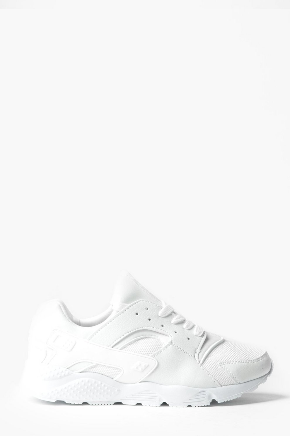 boohoo Lace Up Running Trainer with Heel Detail