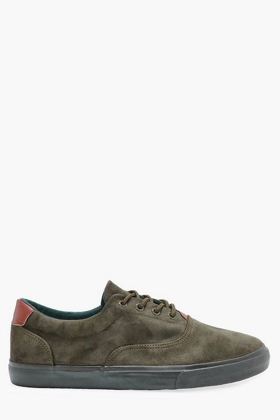 Faux Suede Lace Up Trainers