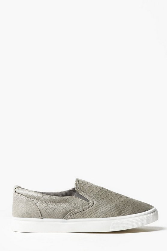 Faux Snake Skin Slip On Trainers