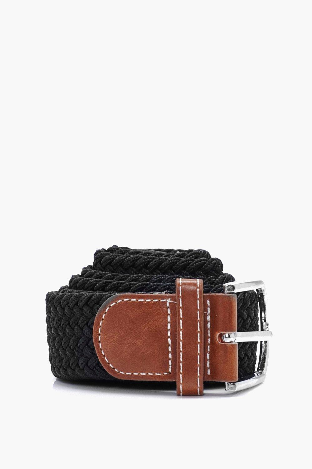 Plaited Belt - black - Stretch Plaited Belt - blac