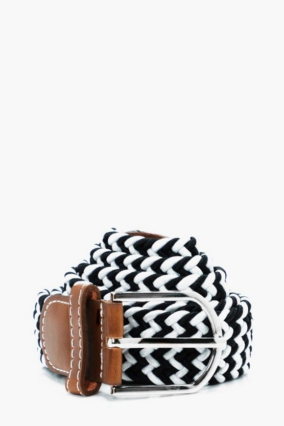 Mixed Colour Elasticated Plaited Belt