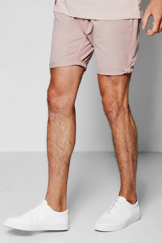 Pink Broken Cotton Twill Chino Short