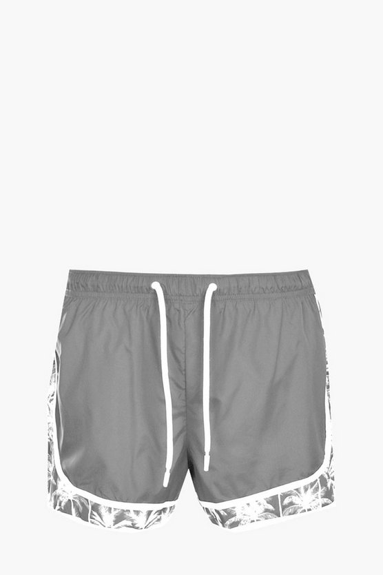 Palm Print Panel Swim Shorts