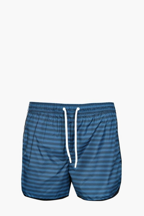 Horizontal Stripe Print Swim Short