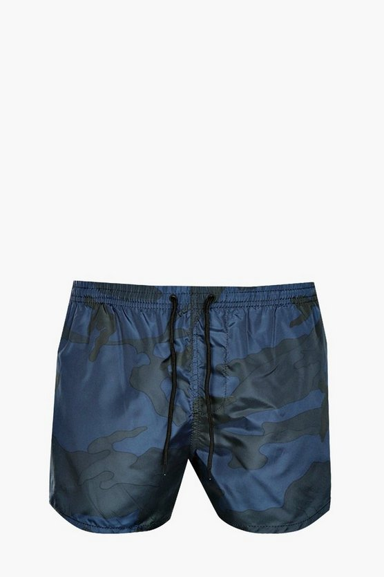 Navy Camo Print Swim Shorts