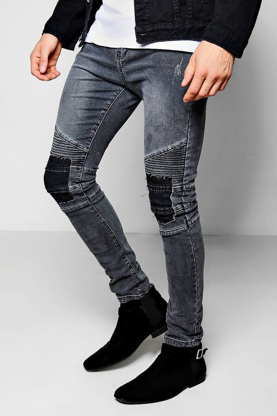 Skinny Fit Charcoal Rip &  Repair Biker Jeans