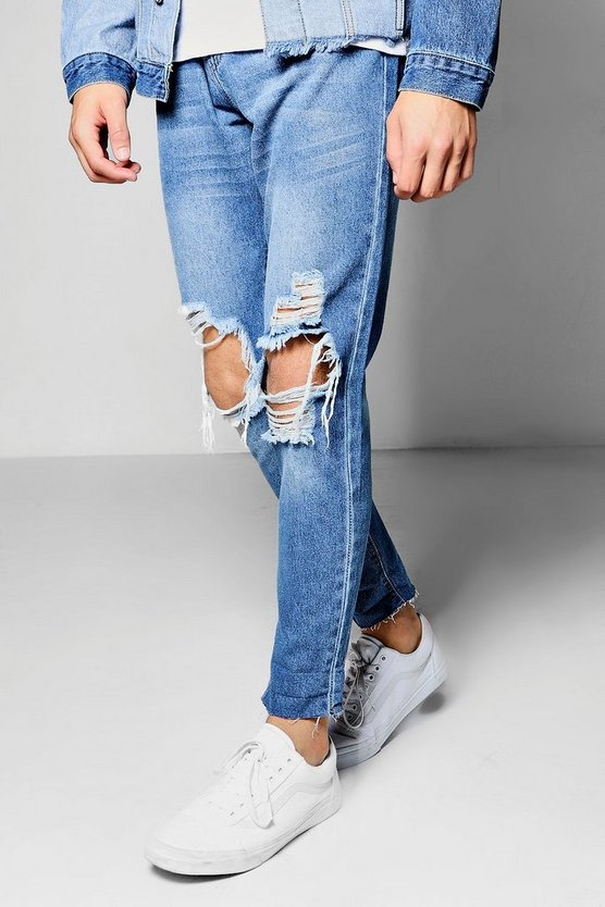 Skinny Fit Blue Cropped Jeans With Open Rips