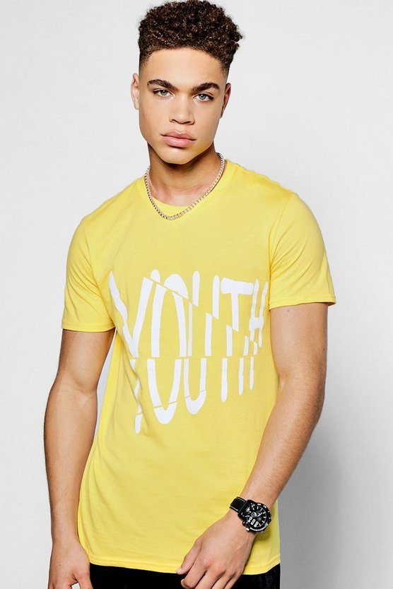Spliced 'Youth' Print Crew Neck T-Shirt