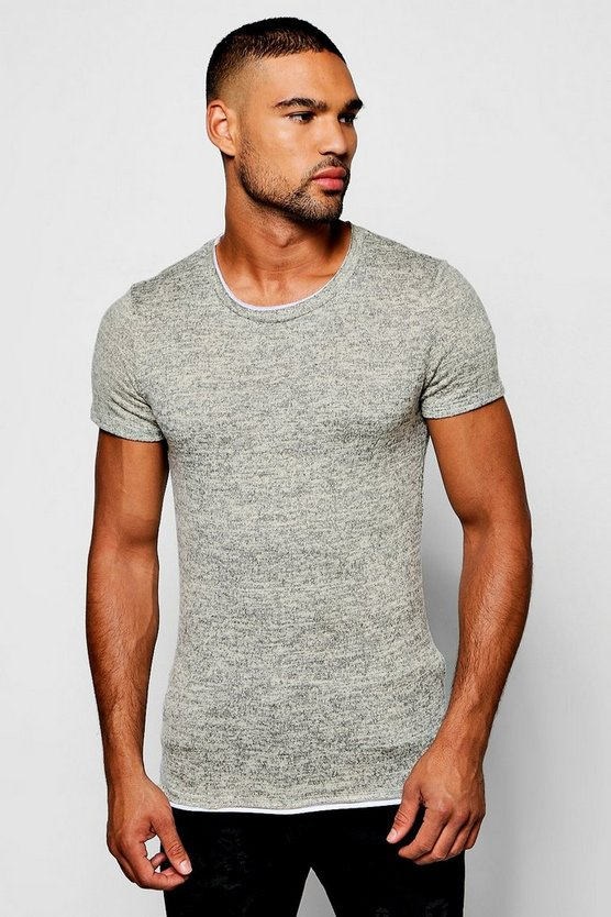 Faux Layer Knitted Tee With Jersey Insert