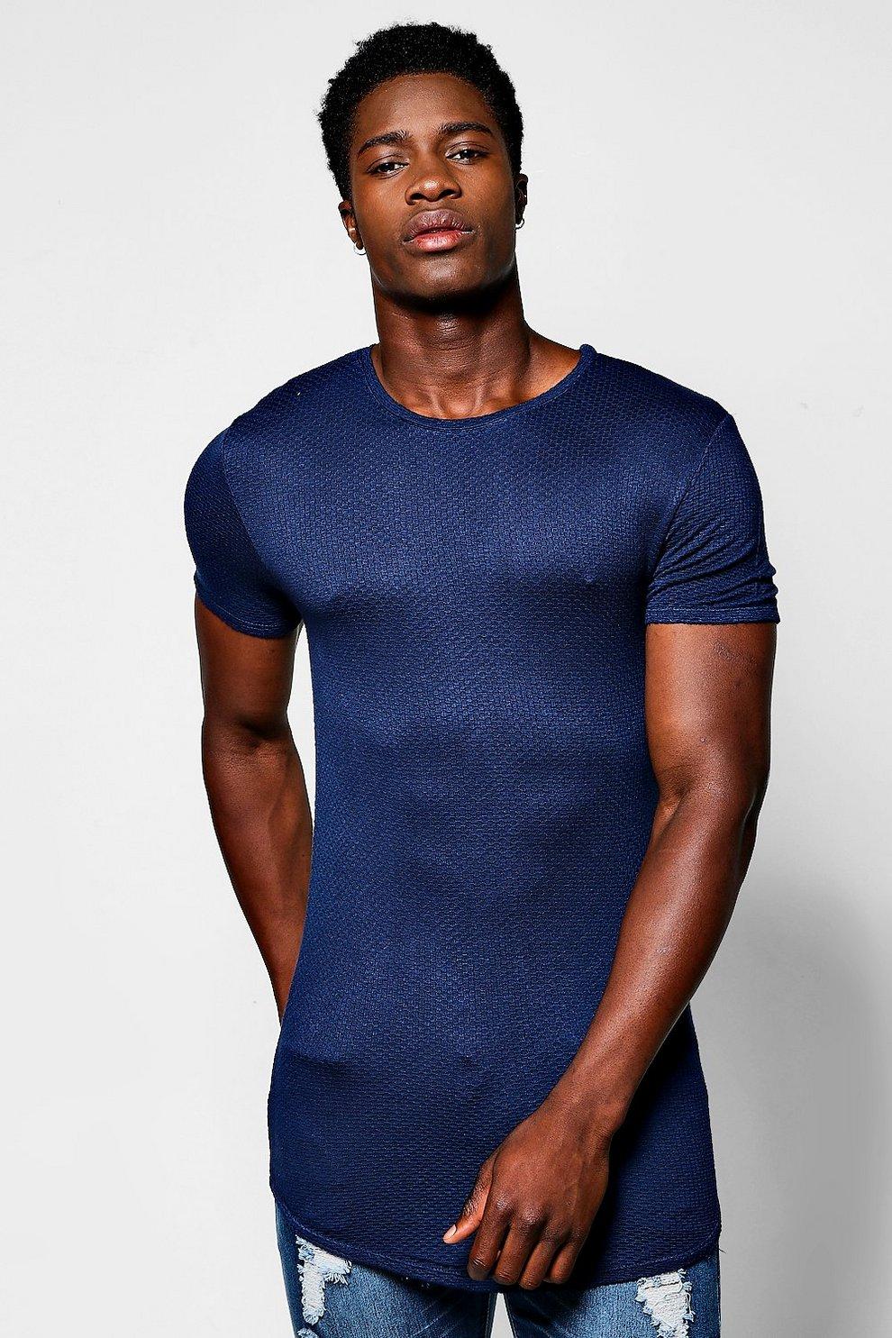 Longline Scoop Hem Waffle Knit T-Shirt