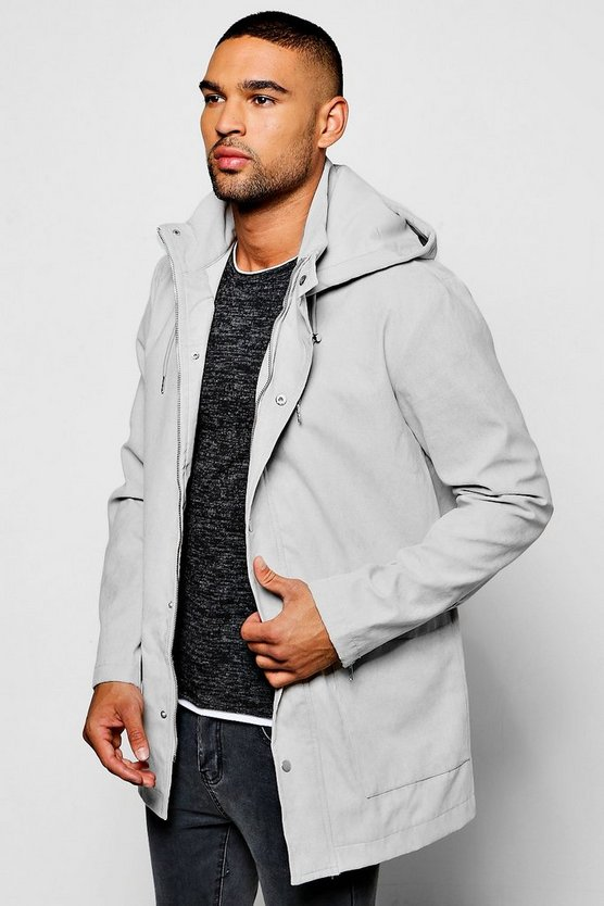 Faux Suede Hooded Anorak
