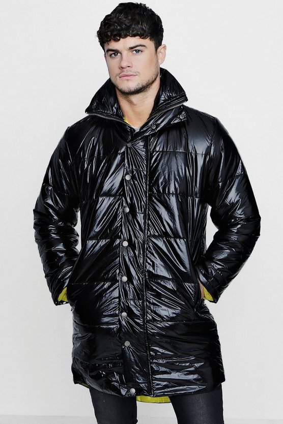 Black High Shine Oversized Quilted Jacket