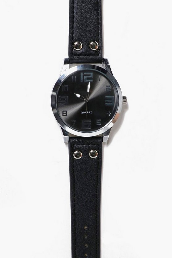 Large Face PU Strap Watch