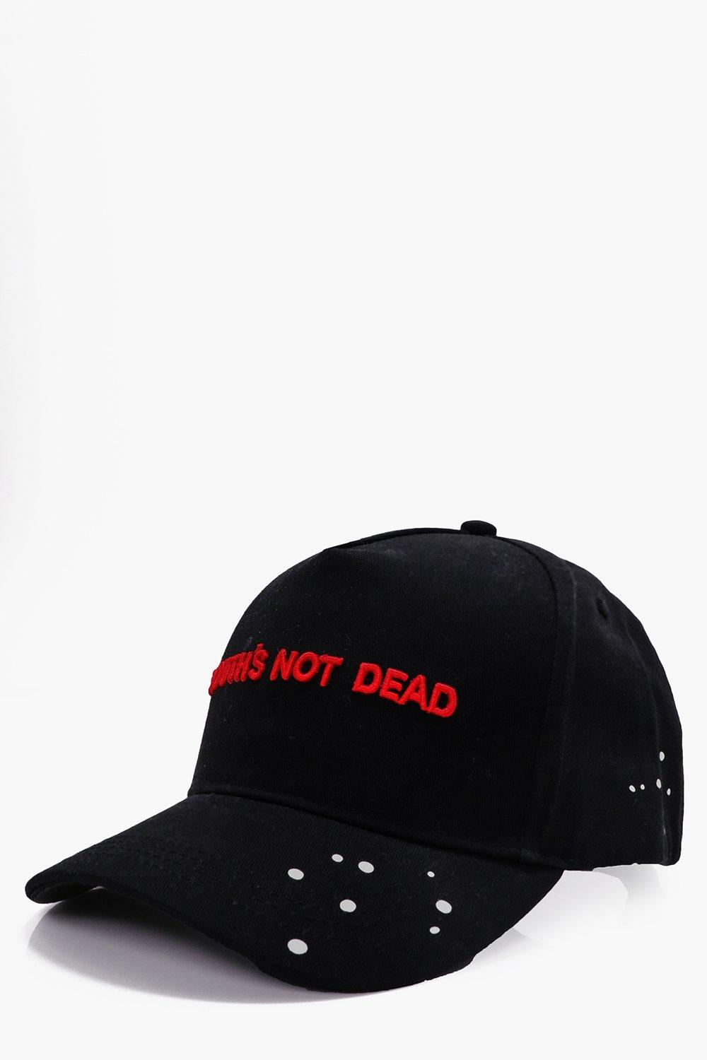Peak Cap With Red Embroidery - black - Black Peak