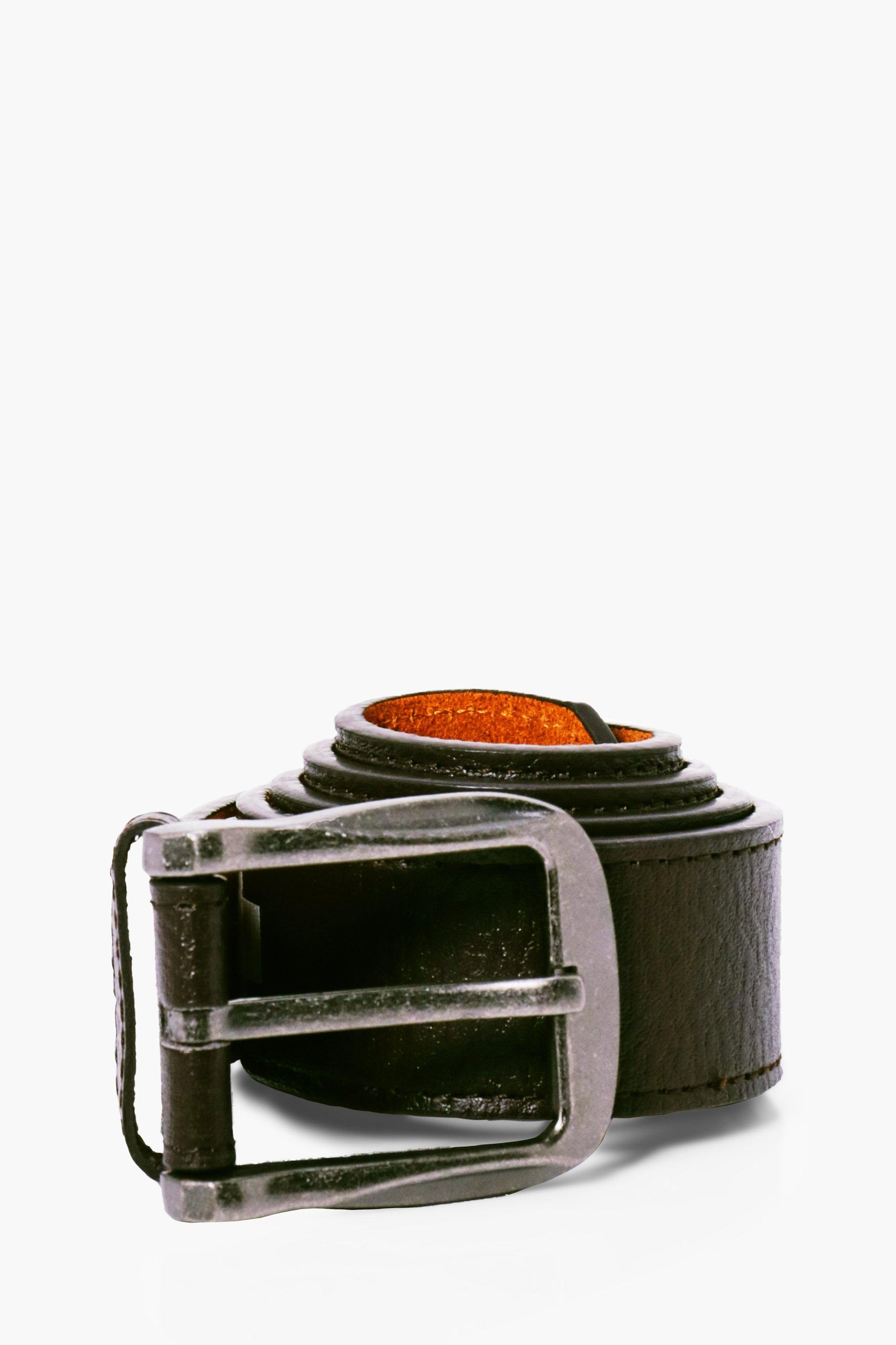 PU Belt With Burnished Buckle - brown - Brown PU B