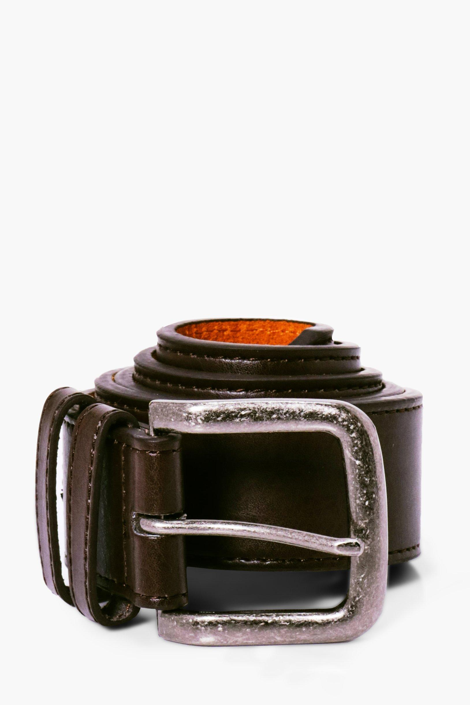 PU Belt With Silver Burnished Buckle - brown - Bro