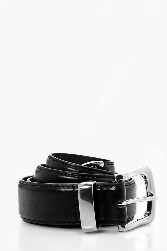 Black PU belt With Chrome Tip
