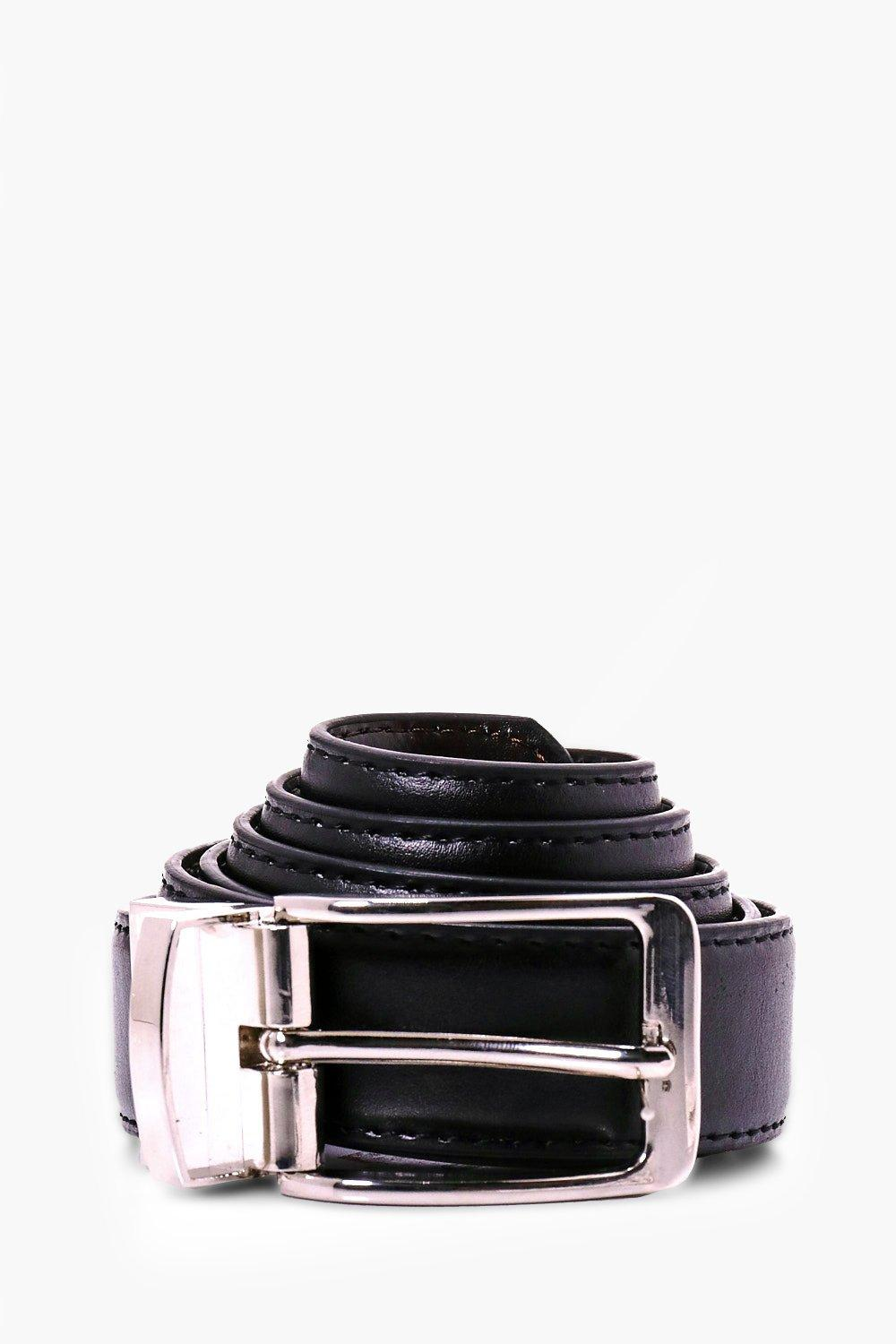 Belt With Chrome Buckle - black - Reversible Belt