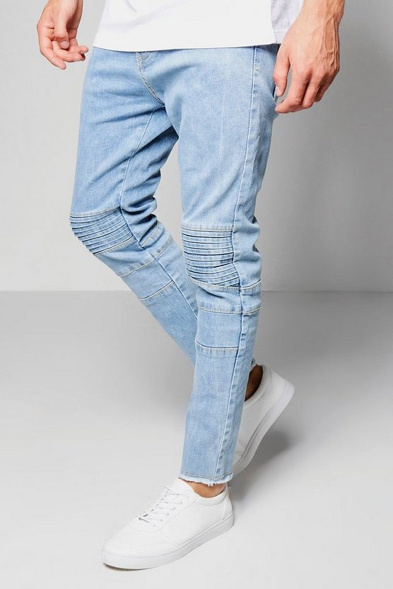 Pale Blue Skinny Fit Denim Biker Jeans