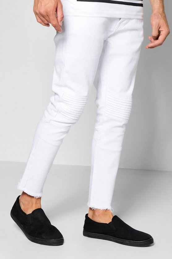 White Skinny Fit Biker Jeans With Raw Hem