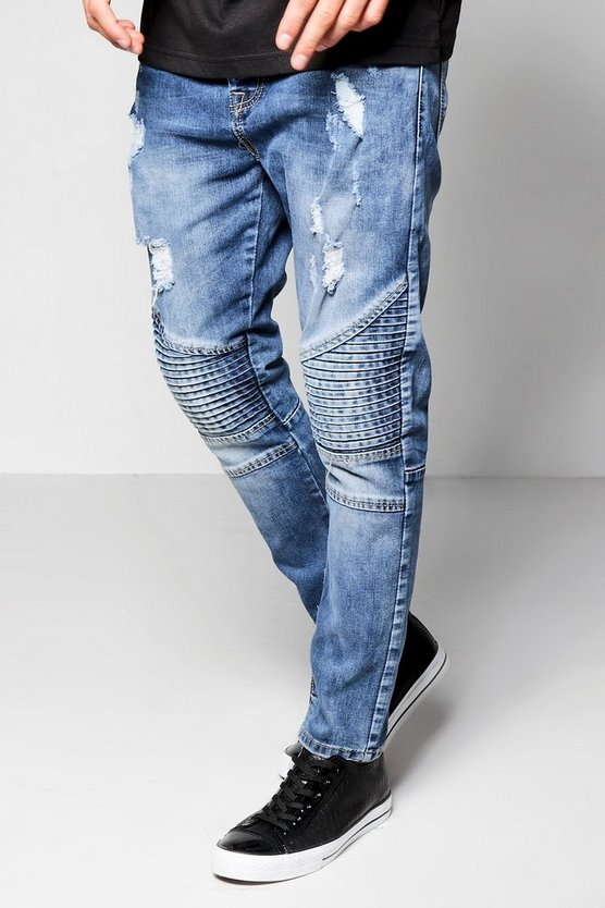 Mid Blue Skinny Fit Denim Biker Jeans With Zip Cuff