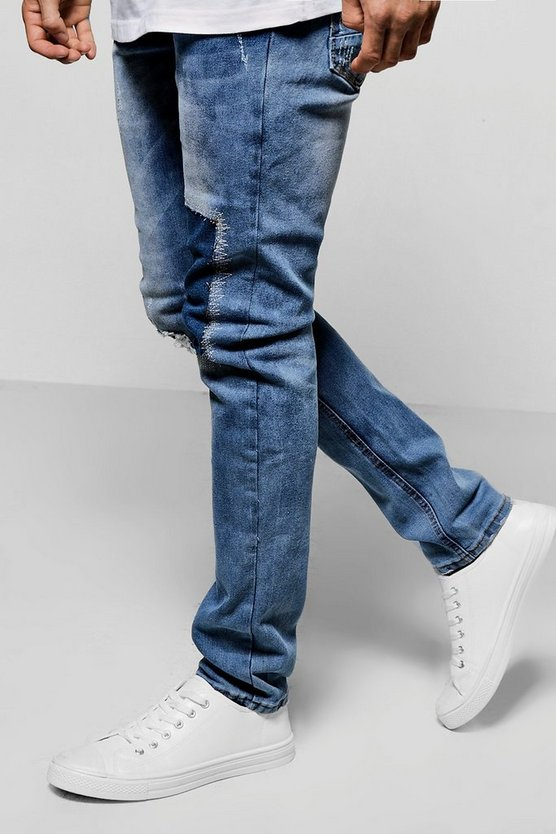 Pale Blue Skinny Fit Patchwork Denim Jeans