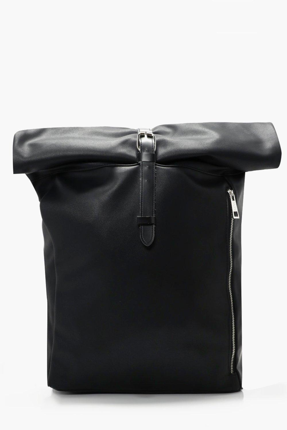 Roll Top Back Pack With Zip Detail - black - PU Ro