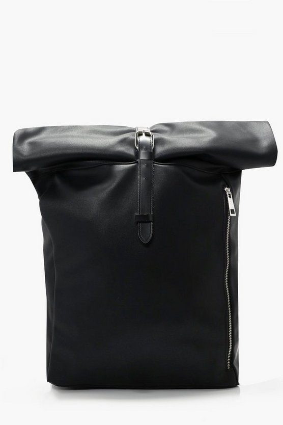 PU Roll Top Back Pack With Zip Detail