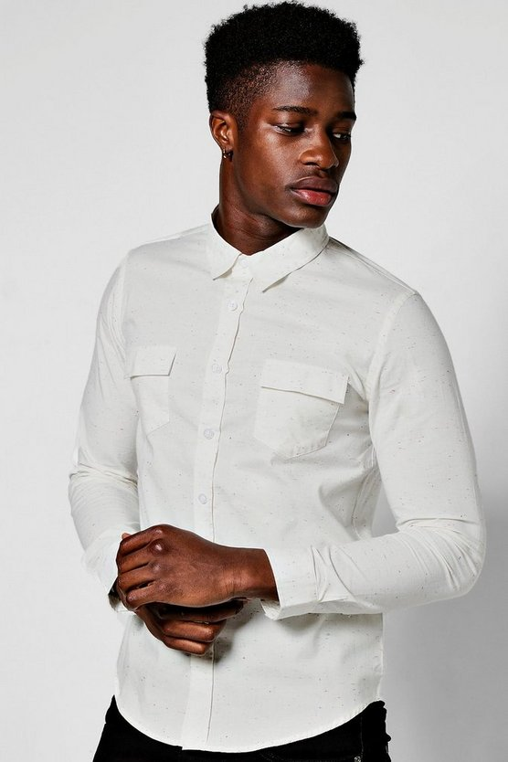 White Long Sleeve Nep Shirt