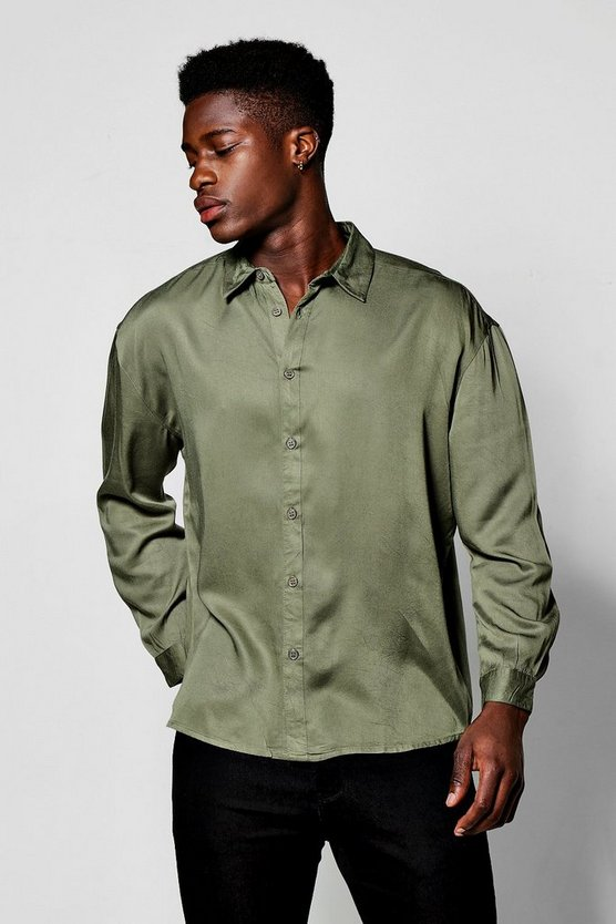 Khaki Long Sleeve Oversized Viscose Shirt