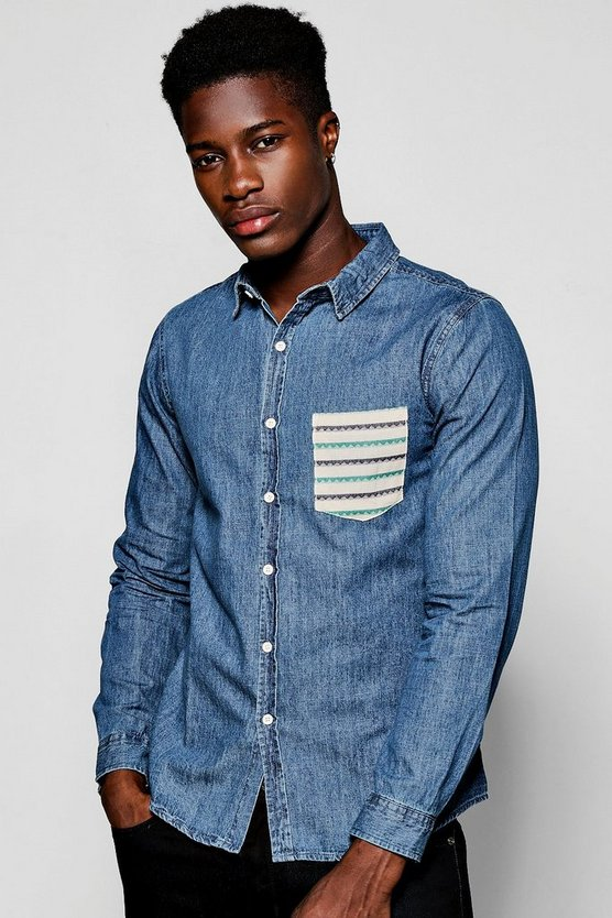Long Sleeve Denim Shirt With Aztec Pocket