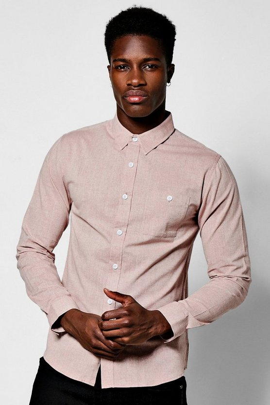 Pink Long Sleeve Herringbone Shirt