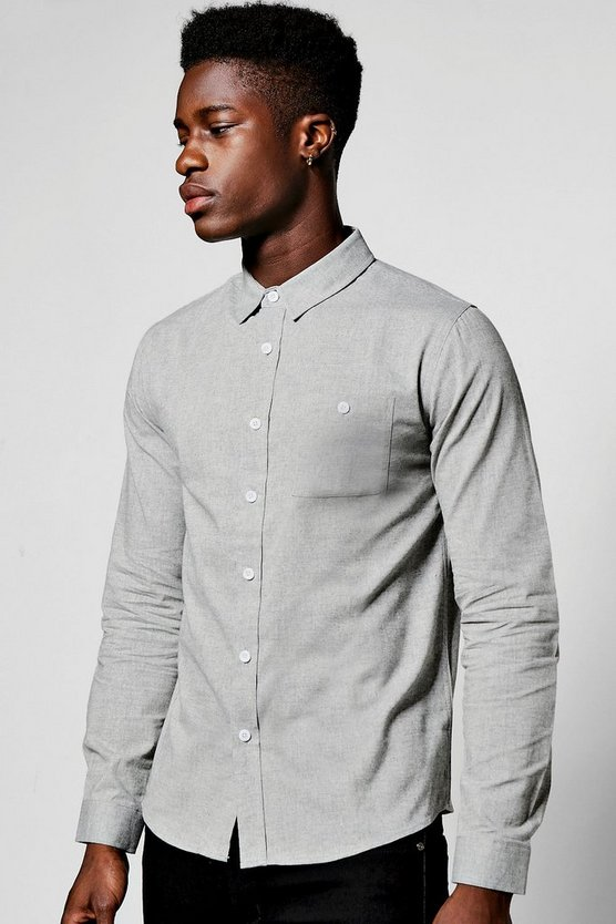 Grey Long Sleeve Herringbone Shirt