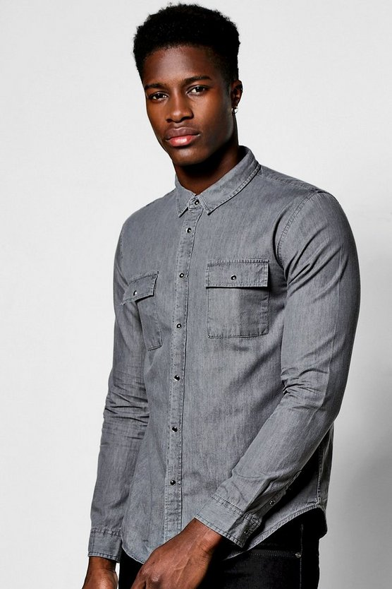 Grey Long Sleeve Denim Shirt