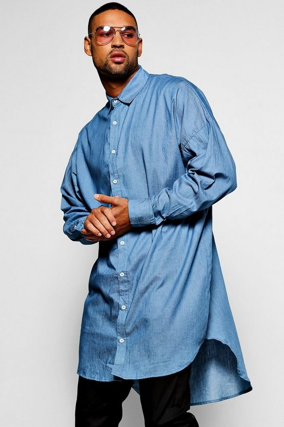 Pale Blue Extreme Longline Denim Chambray Shirt