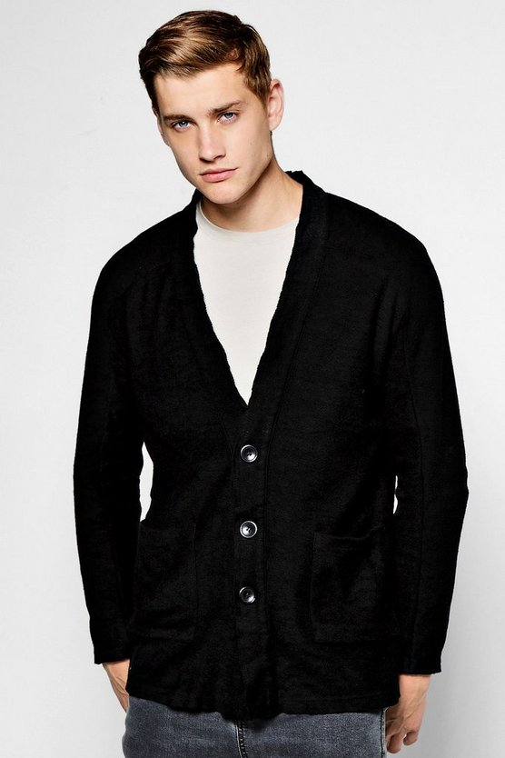 Black Collarless Knitted Cardigan