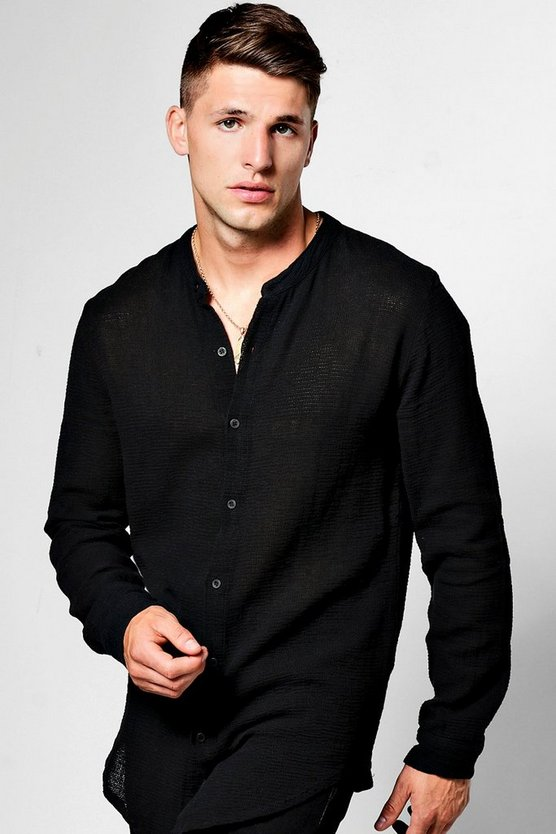 Long Sleeve Button Linen Blend Knitted Shirt