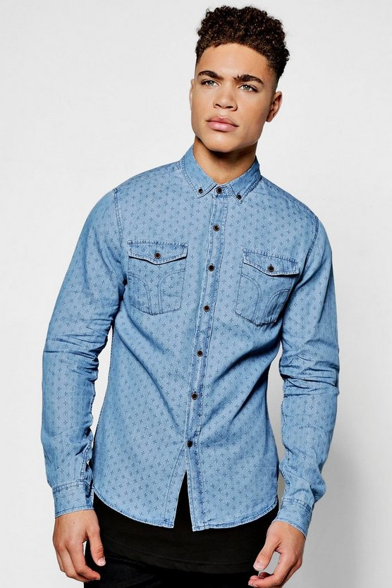 Long Sleeve Denim Shirt With Print