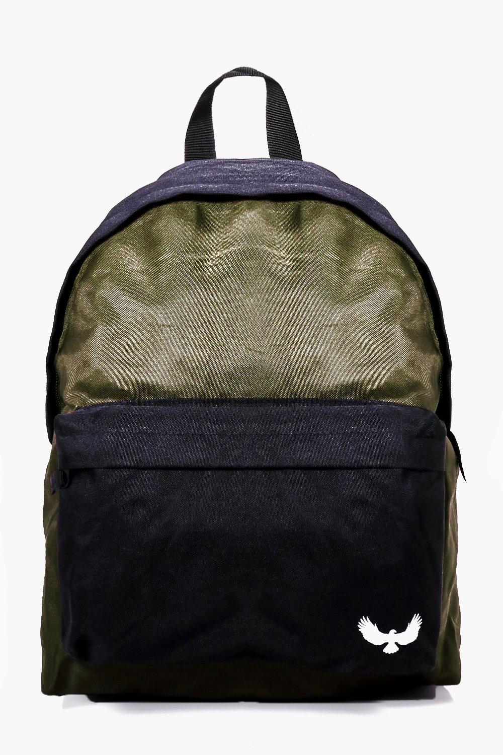 Contrast Panel Canvas Backpack - khaki - Khaki Con