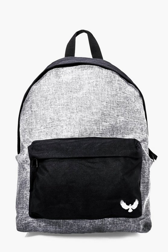 Grey Contrast Panel Canvas Backpack