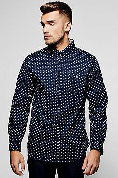 Navy Long Sleeve Polka Dot Print Shirt