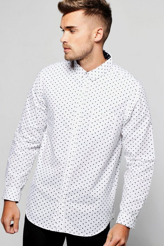 White Long Sleeve Polka Dot Print Shirt
