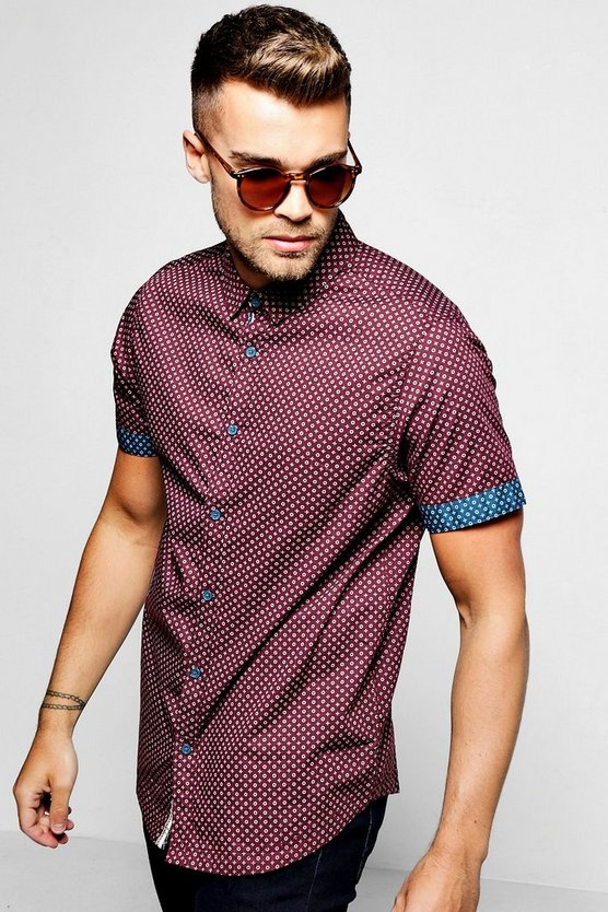 Burgundy Short Sleeve Ditsy Print Shirt
