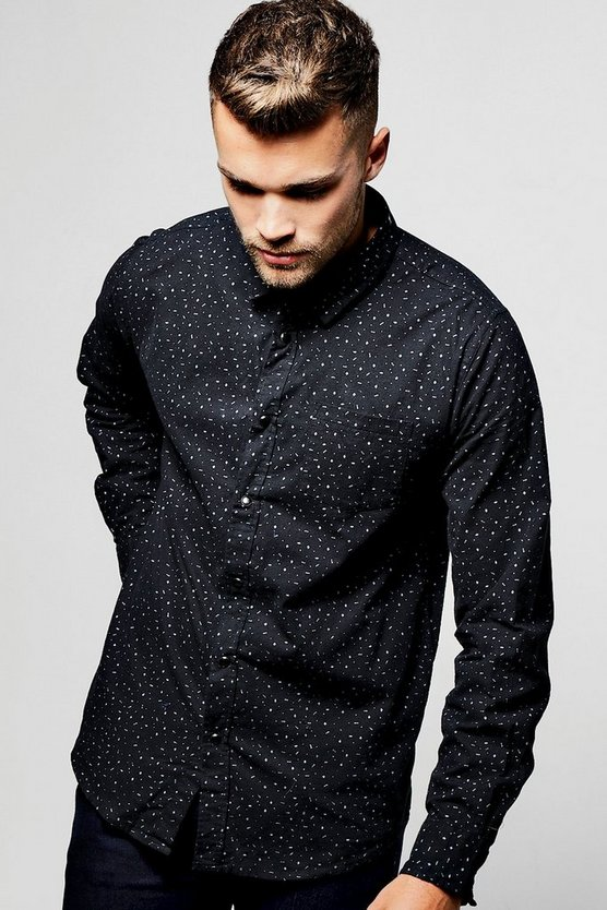 Black Long Sleeve Ditsy Print Shirt